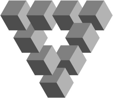 This Illusion Created By Artist M Impossible Triangle - Penrose Triangle  Clipart (#5372301) - PinClipart