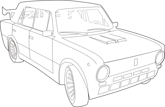 Classic Car Line Art Pickup Truck Drawing Free Commercial Clipart